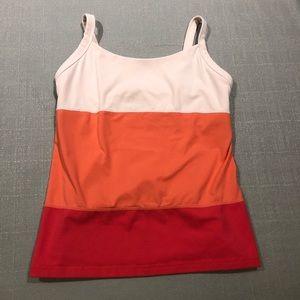Lululemon Coral Pink Red Orange striped tank top 8